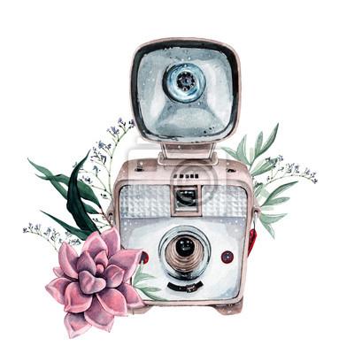 Poster Vintage retro Aquarell Kamera. Perfekt für Fotografie-Logo