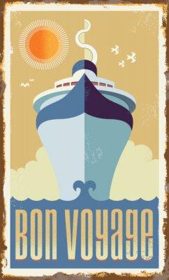 Poster Vintage retro-Kreuzfahrtschiff Vektor-Design - Metallzeichen Poster
