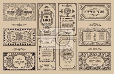 Poster Vintage Set Retro Karten. Schablonengrußkarte Hochzeitseinladung. Line kalligraphische Rahmen