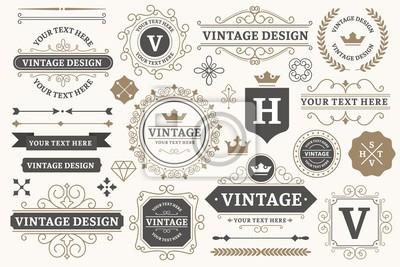 Poster Vintage sign frames. Old decorative frame design, retro ornate label elements and luxurious vintage borders. Premium certificate badge, victorian elegant tag. Isolated vector symbols set