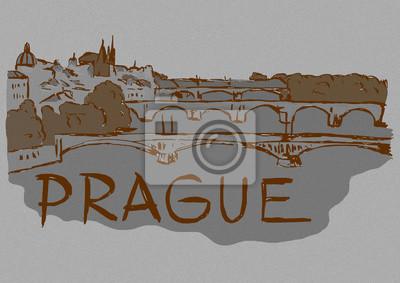 Vintage sketch of Prague