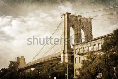 Poster Vintage-Stil Bild der Brooklyn Bridge in New York City
