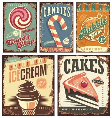 Poster Vintage Süßigkeiten-Shop Sammlung von Zinn-Zeichen
