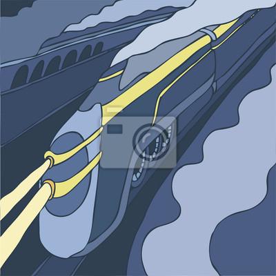Vintage train, vector illustration, hand drawn