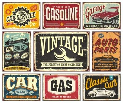 Poster Vintage Transport Zeichen Sammlung für Auto Service