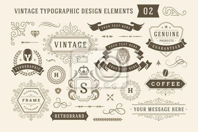 Poster Vintage typographic design elements set vector illustration.