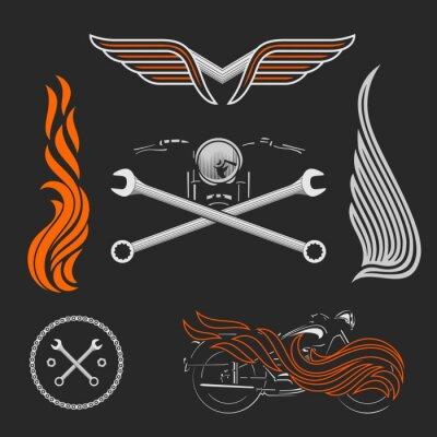 Poster Vintage Vektor Motorrad-Logos, Embleme, Vorlagen, Etiketten, Symbole und Motorrad Design-Elemente.