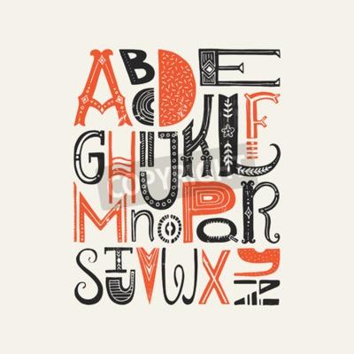 Poster Vintages Plakat mit einzigartigen lateinischen Alphabet Buchstaben. Vektor-Schriftart oder Typografie-Design.