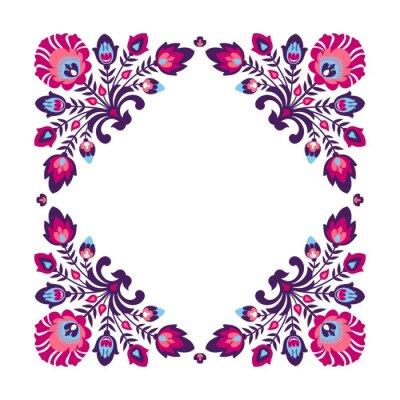 Poster Violetten Folk floralen Rahmen