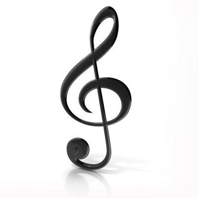 Poster Violinschlüssel auf weißem Hintergrund