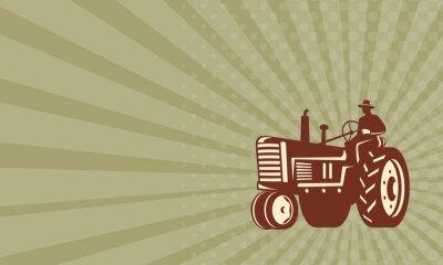 Poster Visitenkarte Landwirt, der Vintagen Traktor Retro fährt