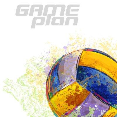 Poster Volleyball Alle Elemente sind in separaten Ebenen und gruppierte.