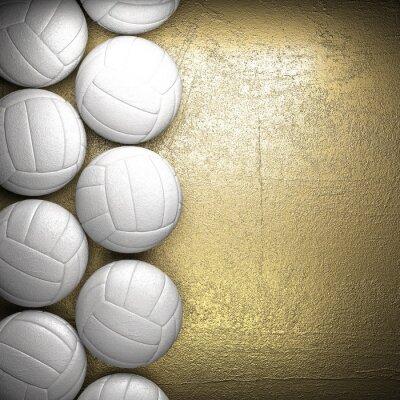 Poster Volleyball-Ball und goldene Wand-Hintergrund