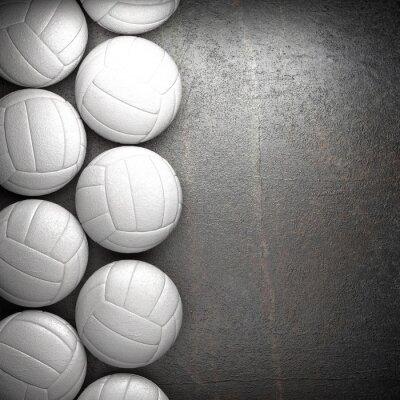 Poster Volleyball-Ball und Metall-Wand-Hintergrund