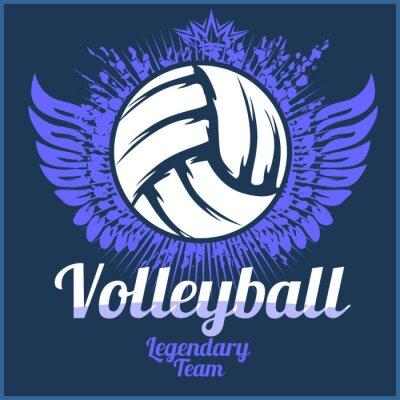 Poster Volleyball-Champion-Logo mit Ball - Vektor-Illustration.