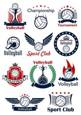 Poster Volleyball Spiel Symbole, Embleme und Symbole
