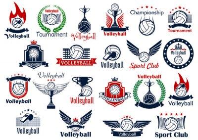 Poster Volleyball-Sport-Spiel Symbole und Symbole