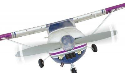 Poster Vorderseite Cessna 172 Single Propeller Flugzeug Auf Weiß