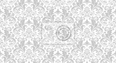 Poster Wallpaper in the style of Baroque. Seamless vector background. White and grey floral ornament. Graphic pattern for fabric, wallpaper, packaging. Ornate Damask flower ornament.
