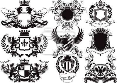 Wappen, Schilde und heraldische Vektorelemente