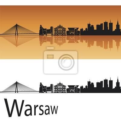 Warschau Skyline in orangefarbenen Hintergrund