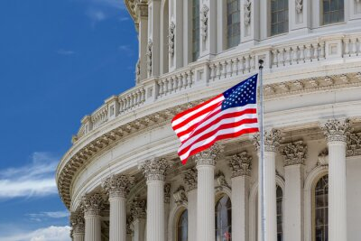 Poster Washington DC Capitol Detail auf bewölktem Himmel
