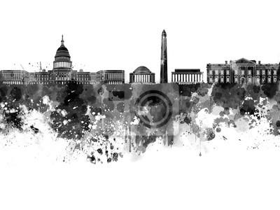 Washington DC Skyline in schwarz Aquarell