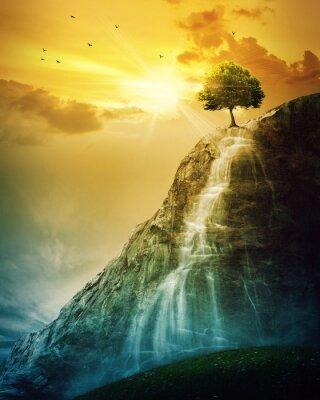 Poster Wasserfall Baum