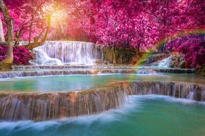 Poster Wasserfall im Regenwald (Tat Kuang Si Wasserfälle bei Luang Praba