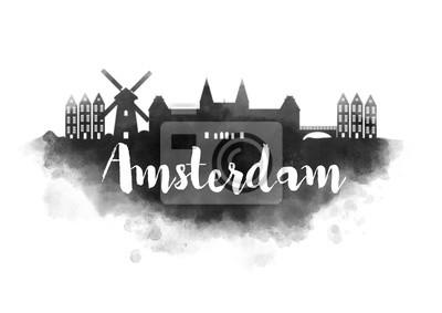 Wasserfarbe Amsterdam Stadt Skyline