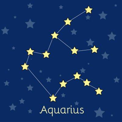Poster Wassermann Wasser Sternzeichen-Konstellation mit Sternen im Kosmos. Vector Abbildung