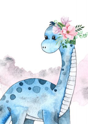 Poster Watercolor and graphic dinosaurs pre-made cards with Brachiosaurus, Stegosaurus on white background with watercolor shapes