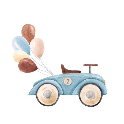 Poster Watercolor baby car illustration
