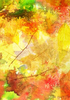 Poster Watercolor background with autumn leaves