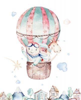 Poster Watercolor balloon set baby cartoon cute pilot aviation illustration. sky transport balloons with giraffe and elephant, koala, bear and bird, clouds. childish baby boy shower illustration