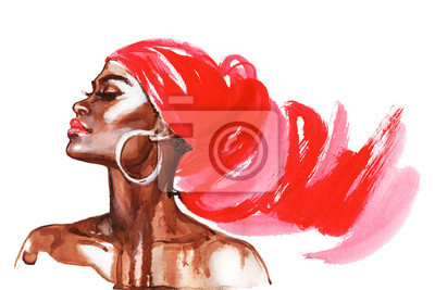 Poster Watercolor beauty african woman. Painting fashion illustration. Hand drawn portrait of pretty girl on white background