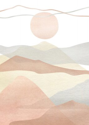 Poster Watercolor creative minimalist hand painted landscape composition, mountains. Abstract modern print, poster, for wall decoration, card or brochure cover design. Aesthetic trendy illustration