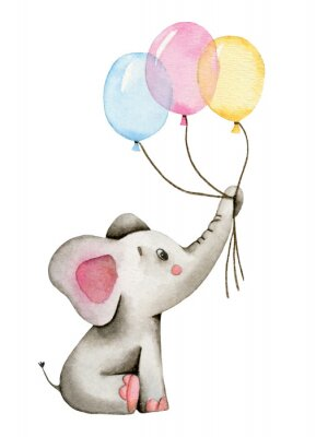 Poster Watercolor cute elephant holds the trunk of multi-colored balloons isolated on white background.