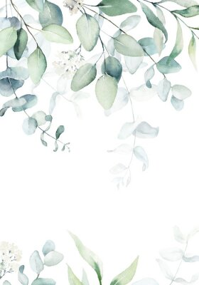 Poster Watercolor floral illustration with green branches & leaves - frame / border, for wedding stationary, greetings, wallpapers, fashion, background. Eucalyptus, olive, green leaves, etc.