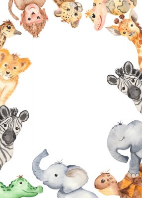 Poster Watercolor frame with cute cartoon animals of Africa. Template for invitation, greeting card, party, baby shower, children's clothing and design.