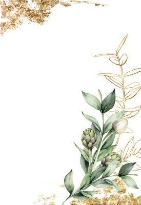 Poster Watercolor golden card with linear branch and artichoke. Hand painted holiday card with green eucalyptus leaves and bud on white background. Spring illustration for design, print, fabric, background.