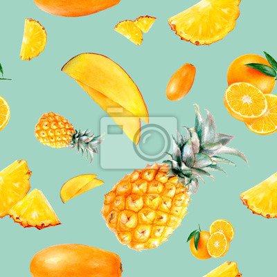 Poster Watercolor hand drawn multi fruit isolated seamless pattern.