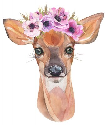 Poster Watercolor illustration. Cute fawn with flowers. Baby deer.