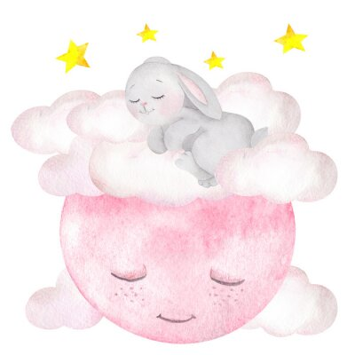 Poster Watercolor illustration with cute rabbit, moon, stars and clouds