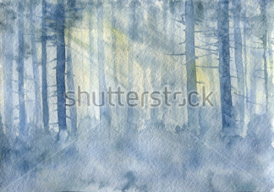 Poster watercolor landscape with mist and trees trunks, cobweb morning, fog in a forest, hand drawn illustration, nature background