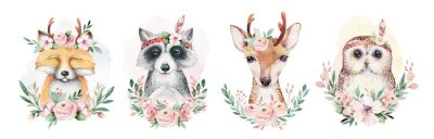 Poster Watercolor set of forest cartoon isolated cute baby fox, deer, raccoon and owl animal with flowers. Nursery woodland illustration. Bohemian boho drawing for nursery poster, pattern