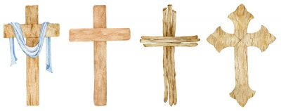 Poster Watercolor set of wooden Christian crosses. Church cross isolated. Abstract religion symbol.