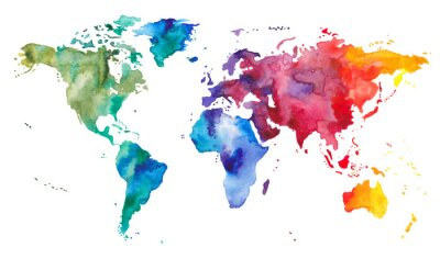 Poster Watercolor World Map
