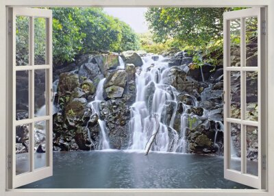 Poster Waterfall view from open window