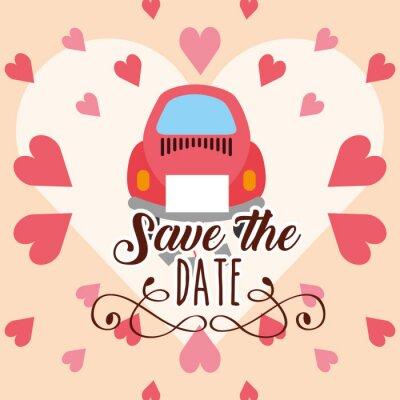 wedding car card save the date love hearts vector illustration